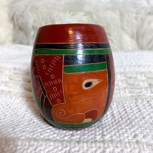 Small Vintage Clay Boho Tribal Accent Piece Vase